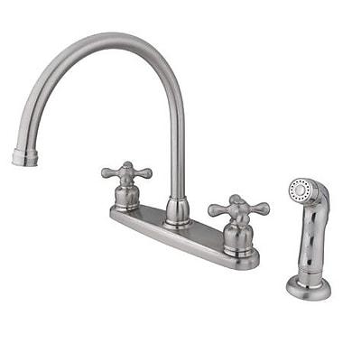 Kingston Brass Vintage Double Handle Goose Neck Kitchen Faucet w/ Spray; Satin Nickel