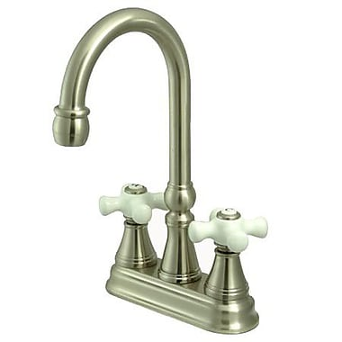Kingston Brass Governor Double Handle Centerset Bar Faucet; Satin Nickel