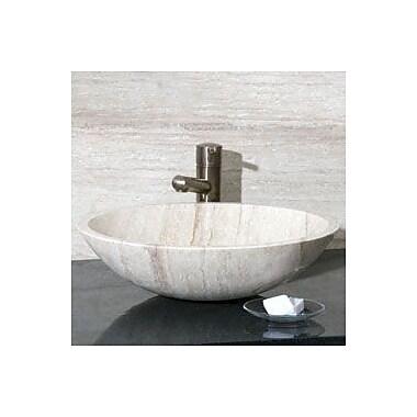 Allstone Group Round Vessel Bathroom Sink; White Sands Travertine / High Sheen Polish