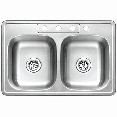 Kingston Brass Studio 22'' x 33'' Gourmetier Self-Rimming Double Bowl Kitchen Sink