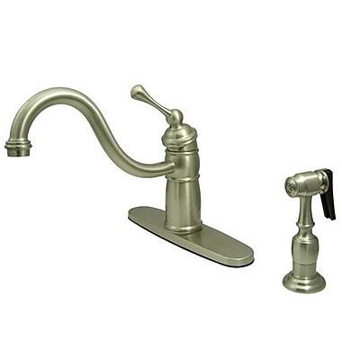 Kingston Brass Victorian Single Handle Kitchen Faucet w/ Brass Spray; Satin Nickel