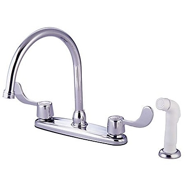 Kingston Brass Vista Double Handle Kitchen Faucet; With Side Spray