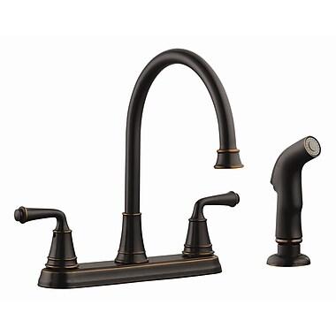 Design House Eden Double Handle Kitchen Faucet w/ Sprayer; Oil Rubbed Bronze