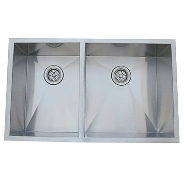 Kingston Brass Gourmetier 20.06'' x 33'' Stainless Steel Double Bowl Undermount Kitchen Sink
