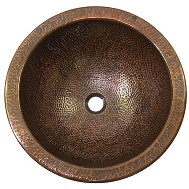 The Copper Factory Large Round Self-Rimming Bathroom Sink; Antique Copper