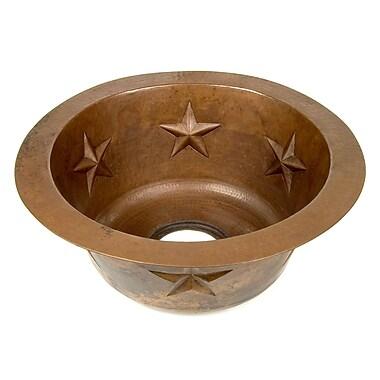 D'Vontz Copper 16'' x 16'' x 7'' Round Texas Star Embossed Bar Sink; Dark Smoke Copper