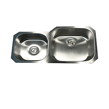 Nantucket Sinks Sconset 35.38'' x 20.13'' x 8'' Double Bowl Kitchen Sink; Right