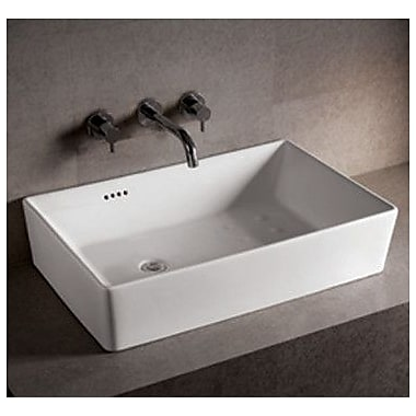 Whitehaus Collection Isabella Rectangular Bathroom Sink w/ Overflow and Offset Center Drain