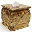 Nature Home Decor Tissue Holder; Multi green onyx marble