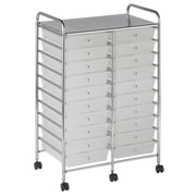ECR4Kids 20-Drawer Double-Wide Mobile Organizer; White