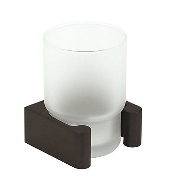 Alno Luna Counter Top Tumbler and Tumbler Holder; Unlacquered Brass