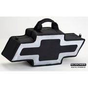Go Boxes Bowtie Shaped Canvas Bag; Black with a Silver Border