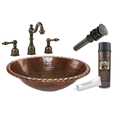 Premier Copper Products Roped Rim Self Rimming Hammered Bathroom Sink