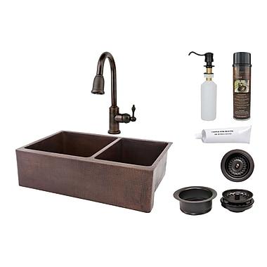 Premier Copper Products 33'' x 22'' Hammered Apron Kitchen Sink