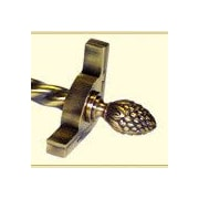 Zoroufy Dynasty 120'' Roped Tubular Stair Rod Set w/Smooth Brackets Pineapple Finials; Antique Brass