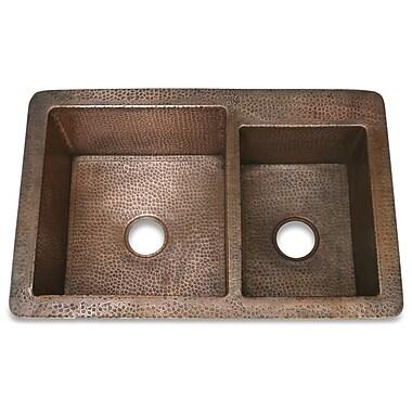 D'Vontz Copper 33'' x 22'' Hammered 60/40 Kitchen Sink; Shiny Copper
