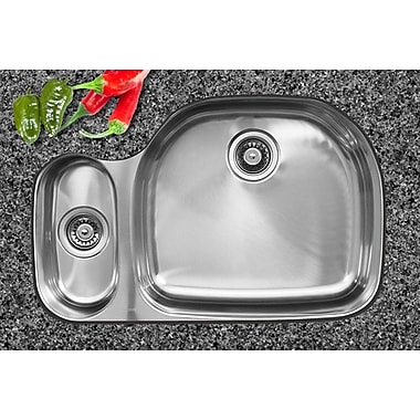 Ukinox 32.5'' x 20.75'' x 10'' Double Bowl Undermount Kitchen Sink; Left