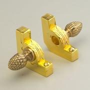 Zoroufy Sovereign 72'' Tubular Stair Rod Set w/Decorative Brackets Pineapple Finials; Polished Brass