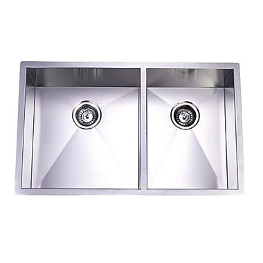 Elements of Design Town Square Undermount Offset Double Bowl Kitchen Sink