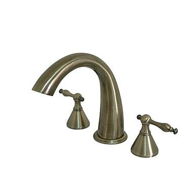 Elements of Design Double Handle Deck Mount Roman Tub Faucet Trim Naples Lever Handle; Satin Nickel
