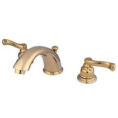 Elements of Design Widespread Bathroom Faucet w/ Double Lever Handles; Polished Brass/Pvd