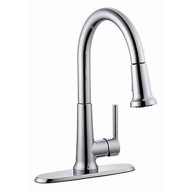 Design House Geneva Single Handle Kitchen Faucet w/ Pullout Sprayer; Polished Chrome