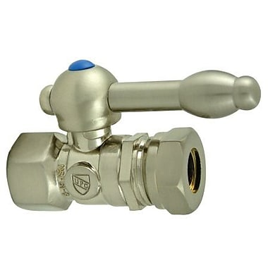 Elements of Design 1.375'' Decorative Quarter Turn Valves w/ Knight Lever Handle; Satin Nickel