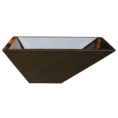 Allstone Group Irregular Rectangular Vessel Bathroom Sink; Black Granite / High Sheen Polish