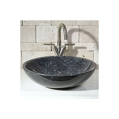 Allstone Group Round Vessel Bathroom Sink; Blue Pearl Granite / High Sheen Polish