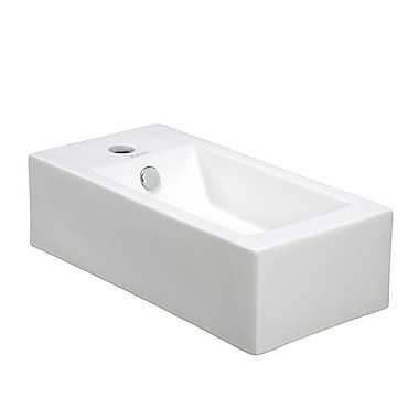 Elanti Porcelain Rectangle Wall Mounted Right Facing Sink