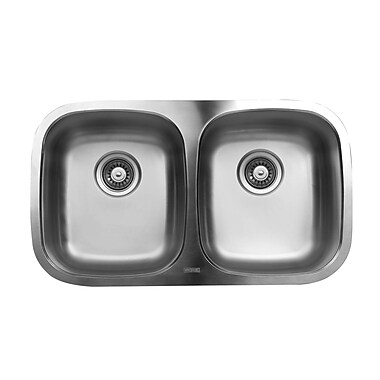 Ukinox 30.33'' x 17.75'' Double Bowl Undermount Kitchen Sink