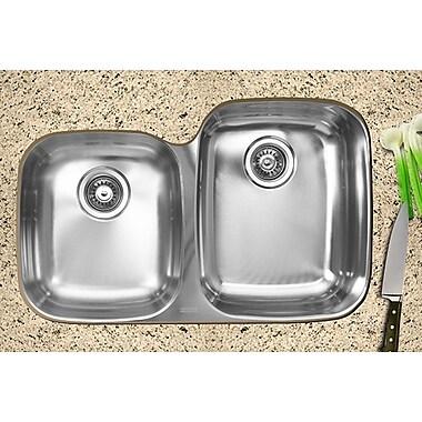 Ukinox 31.5'' x 20.5'' x 10'' Double Bowl Undermount Kitchen Sink; Right