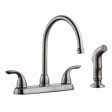 Design House Ashland Double Handle High Arch Kitchen Faucet w/ Sprayer; Satin Nickel