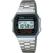 Casio® A168W-1 Men's Classic Digital Electro Luminescence Bracelet Wrist Watch, Silver