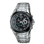 Casio® EFA119BK-1A Men's Analog/Digital Twin Sensor Wrist Watch, Silver