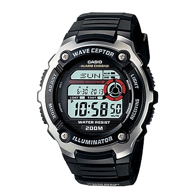 Casio® WV200A-1AV Men's Digital Waveceptor Atomic Chronograph Alarm Wrist Watch, Black