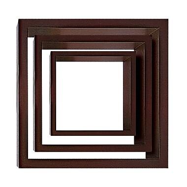 Nexxt Cubbi Wood Wall Shelves, Set of 3, Java wood