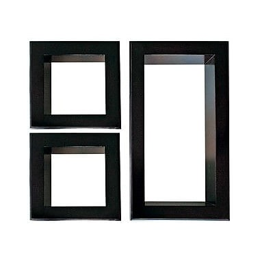 Nexxt Framed Cubbi Wood Wall shelves, Set of 3, Black wood