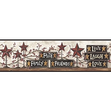Inspired By Color™ Country & Lodge Stars & Blocks On Shelf Border, Red With Gold/Brown
