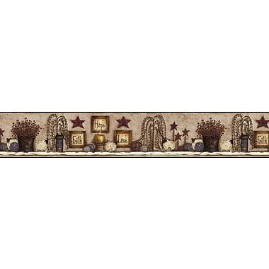 Inspired By Color™ Country & Lodge Faith Hope Love Shelf Border, Beige With Blue
