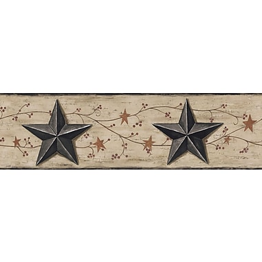 Inspired By Color™ Country & Lodge Barn Star & Vine Border, Brown With Red/Black