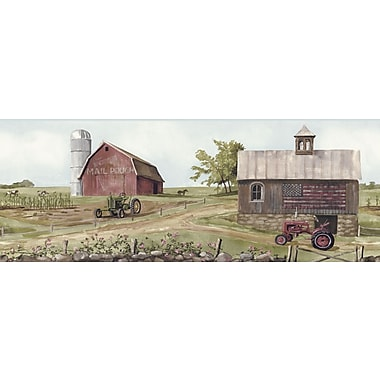Inspired By Color™ Country & Lodge Tractor/Barn Border, Green With Red/Pink