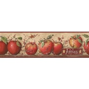 Inspired By Color™ Country & Lodge Apple Border, Khaki Tan With Red Burgundy