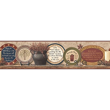 Inspired by Color™ Country & Lodge Plates Border, Khaki With Burgundy