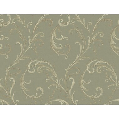Inspired By Color™ Green Distressed Feather Scroll Wallpaper, Dark Green With Tan/Light Green/Beige