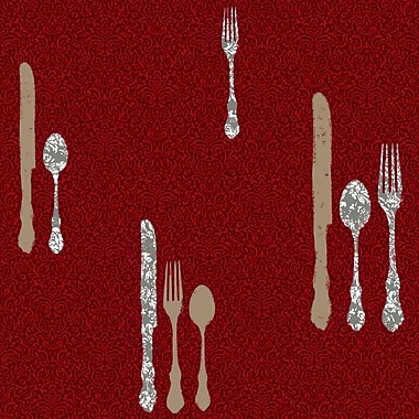 Inspired by Color™ Red Silverware With Damask Wallpaper, Ruby Red With Silver Metallic/Gold Metallic