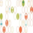 Inspired by Color™ Yellow & Orange Kitchen Utensils & Ovals Wallpaper, White With Orange/Green/Pink