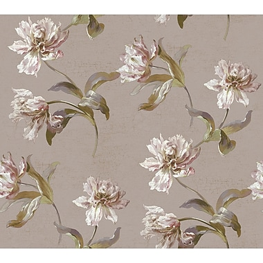 Inspired By Color™ Pink & Purple Large Parrot Tulip Wallpaper, Purple With Metallic Gold/Green