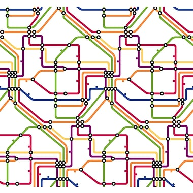 Inspired By Color™ Red Take The A Train Wallpaper, Green With Yellow/Orange/Red/Blue/White