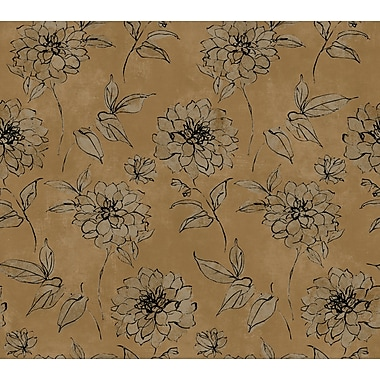 Inspired By Color™ Metallics Sketched Rose Wallpaper, Bronze Pearl Metallic With Pink/Black